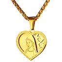 hesapli Erkek Kemerleri-Erkek Uçlu Kolyeler - Paslanmaz Çelik Kalp Vintage Altın, Gümüş Kolyeler Mücevher 1 Uyumluluk Günlük, Seramoni