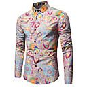 رخيصةأون قمصان رجالي-رجالي الأعمال التجارية / أناقة الشارع طباعة قطن قميص نحيل / كم طويل
