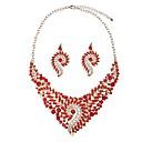 저렴한 귀걸이-여성용 합성 다이아몬드 쥬얼리 세트 - 클래식, 대형 포함 드랍 귀걸이 팬던트 목걸이 레드 제품 약혼 행사