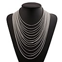 cheap Necklaces-Tassel Layered Necklace - Stainless Fashion, Oversized Gold, Black, Silver 36 cm Necklace Jewelry For Club, Bar