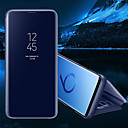 baratos Capinhas para Galaxy Série S-Capinha Para Samsung Galaxy S8 Plus / S8 Com Suporte / Espelho / Flip Capa Proteção Completa Sólido Rígida PU Leather para S8 Plus / S8 / S7 edge