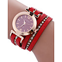 cheap Women's Watches-Women's Bracelet Watch Quartz 30 m Chronograph PU Band Analog Bangle Red - Gray Brown Red One Year Battery Life / Stainless Steel / SSUO LR626