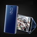 رخيصةأون أغطية أيفون-غطاء من أجل Apple iPhone X / iPhone 8 Plus / iPhone 8 مع حامل / تصفيح / مرآة غطاء كامل للجسم لون سادة قاسي أكريليك