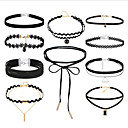 cheap Necklaces-Women's Stackable Choker Necklace / Tattoo Choker - Leather, Lace Vintage, Gothic, Multi Layer Black 36 cm Necklace Jewelry 10pcs For Gift, Street