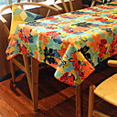 cheap Makeup & Nail Care-Contemporary 75g / m2 Polyester Knit Stretch PVC(PolyVinyl Chloride) Square Table Cloth Floral Table Decorations 1 pcs