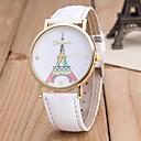 hesapli Küpeler-Kadın's Bilek Saati Quartz Siyah / Beyaz / Mavi Eiffel Kulesi Gündelik Saatler Analog Bayan Moda Renkli - Mavi Pembe Açık Yeşil