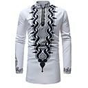 billige Herreskjorter-Herre - Geometrisk / Tribal Trykt mønster Basale Skjorte Hvid XL / Høj krave / Langærmet