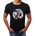 billige T-shirts og undertrøjer til herrer-Rund hals Herre - Geometrisk Bomuld, Trykt mønster T-shirt Hvid XXL