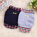 cheap Dog Clothing & Accessories-Dogs Cats Sweatshirt Dog Clothes Plaid / Check Bone Dark Blue Gray Cotton Costume For Spring &  Fall Male Female Casual / Daily Fashion