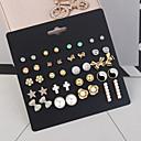 저렴한 귀걸이-여성용 디스코 볼 귀걸이 세트 - 모조 진주 꽃장식, 리본장식 단순한, 유럽의, 패션 골드 제품 일상