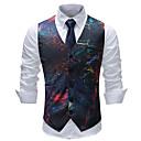 billige Mode Halskæde-Herre Vest, Geometrisk / Farveblok / Ternet V-hals Bomuld / Akryl / Polyester Regnbue XXXL / XXXXL / XXXXXL