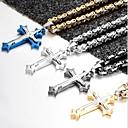 ieftine Coliere-Bărbați Coliere cu Pandativ Colier lung, Lung bizantin Σταυρός Crucifix Vintage Modă Cool Hip Hop Teak Oțel titan Negru Argintiu Albastru 60 cm Coliere Bijuterii Pentru Petrecere Cadou Stradă