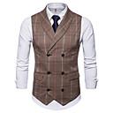 رخيصةأون سترات و بدلات الرجال-رجالي مناسب للبس اليومي أساسي الخريف / الشتاء عادية Vest, منقوشة / متقلب V رقبة بدون كم سباندكس بني / رمادي