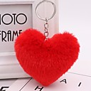 hesapli Anahtarlıklar-Kalp Anahtarlık Kırmzı / Yeşil / Pembe Geometric Shape Tavşan Tüyü, alaşım Sıradan, Moda Uyumluluk Günlük / Randevu