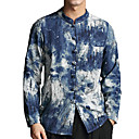 رخيصةأون سترات و كنزات رجالي-رجالي كتان قميص, ألوان متناوبة / مرتفعة / كم طويل / الخريف