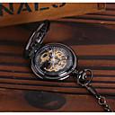 ieftine Ceasuri Bărbați-Bărbați Ceas Schelet Ceas de buzunar Mecanism automat Negru Gravură scobită Ceas Casual Analog Lux Casual Schelet Steampunk - Negru