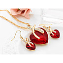 cheap Necklaces-Women's Crystal Synthetic Diamond Jewelry Set - Crystal Heart, Love European, Elegant, Bridal Include Drop Earrings Pendant Necklace Red / Green / Blue For Wedding Party Gift