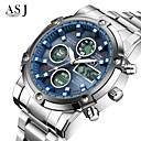 cheap Men's Watches-ASJ Men's Sport Watch Wrist Watch Digital Watch Japanese Quartz Digital 30 m Water Resistant / Water Proof Chronograph LCD Stainless Steel Band Analog-Digital Luxury Fashion Dress Watch White - White