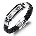 cheap Bracelets-Men's Braided Leather Bracelet Loom Bracelet - 18K Gold Plated, Titanium Steel Unique Design, Chinoiserie Bracelet Jewelry Gold / Black For Daily Street