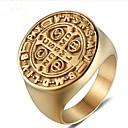 tanie Pierścionki-Męskie Retro Grawerowany Pierścionek Midi Sygnet Ring Stal tytanowa Kreatywne Vintage Modne pierścionki Biżuteria Złoty Na Impreza Codzienny 8 / 9 / 10 / 11 / 12