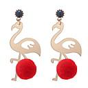 hesapli Küpeler-Kadın's Heykel Damla Küpeler - Top, Flamingo Avrupa, Moda, sevimli Stil Gül / Kırmzı / Yeşil Uyumluluk Günlük