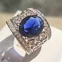 ieftine Pompe si Filtre pentru Acvariu-Pentru femei Albastru Safir Band Ring Inel Articole de ceramică Placat cu platină Diamante Artificiale Prețios Pară femei Έθνικ Modă Supradimensionat Inele la Modă Bijuterii Argintiu Pentru Carnaval