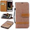 رخيصةأون أغطية أيفون-غطاء من أجل Samsung Galaxy J6 / J5 (2017) / J5 (2016) محفظة / حامل البطاقات / مع حامل غطاء كامل للجسم لون سادة قاسي منسوجات