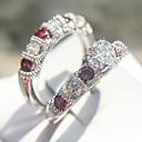 ieftine Brățări-Pentru femei Roșu Clasic Inel Set de inele Articole de ceramică Placat cu platină Diamante Artificiale Inimă Iubire femei Romantic Modă Franceză Inele la Modă Bijuterii Argintiu Pentru Nunt / 2pcs