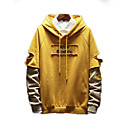 cheap Men's Hoodies & Sweatshirts-Men's Basic Long Sleeve Hoodie - Solid Colored / Letter Hooded Beige XXXL / Fall