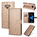 levne Náušnice-Carcasă Pro Samsung Galaxy Note 9 / Note 8 Peněženka / Pouzdro na karty / se stojánkem Celý kryt Jednobarevné / Třpytivý Pevné PU kůže pro Note 9 / Note 8