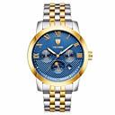 ieftine Brățări-Tevise Bărbați ceas mecanic Japoneză Mecanism automat Oțel inoxidabil Argint / Auriu 30 m Rezistent la Apă Calendar Draguț Analog Lux Modă - Albastru Aur / argint / negru / Iluminat / faza Lunii