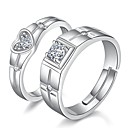 cheap Rings-Couple's Classic Couple Rings - Heart Romantic Adjustable Silver For Gift Festival / 2pcs
