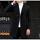 رخيصةأون بدلات-رجالي مناسب للبس اليومي أساسي قياس كبير طويلة معطف, لون سادة الطوق المستقيم كم طويل صوف / قطن / بوليستر أسود / رمادي