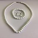 ieftine Becuri LED Corn-Pentru femei Perle Seturi de bijuterii Coliere Colier Colier / cercei femei Elegant de Mireasă De Fiecare Zi Perle cercei Bijuterii Alb Pentru Nuntă Petrecere / Cercei