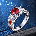 olcso Gyűrűk-Női Piros Szintetikus rubin Régies stílus 3 kő Nyilatkozat gyűrű Gyűrű Réz Platina bevonat Hamis gyémánt Szív végtelenség hölgyek Édes Lolita Koreai Divat Divatos gyűrű Ékszerek Ezüst Kompatibilitás
