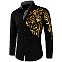 cheap Men's Shirts-Men's Street chic Slim Shirt - Graphic / Long Sleeve