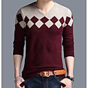 preiswerte Körperschmuck-Herrn Alltag Grundlegend Einfarbig Langarm Standard Pullover, V-Ausschnitt Orange / Kamel / Wein XXL / XXXL / XXXXL