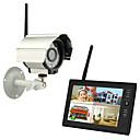 """billige Overvågningssystemer-nye trådløse 4-kanals quad dvr 1 kameraer med 7 """"TFT-LCD-skærm hjem sikringssystem"""