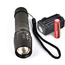 זול אביזרים ל PS3-UltraFire W-878 פנס LED LED Cree® XM-L T6 1 Emitters 1800 lm 5 מצב תאורה עם סוללות ומטען אחיזה נגד החלקה מחנאות / צעידות / טיולי מערות שימוש יומיומי רכיבה על אופניים שחור