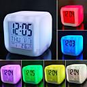 hesapli saatler-7 renk değiştirme led dijital çalar saat masası termometre gece parlayan küp lcd saat