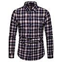 رخيصةأون مصابيح ليد مبتكرة-رجالي أساسي طباعة قطن قميص, مخطط / ألوان متناوبة / كم طويل