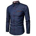رخيصةأون قمصان رجالي-رجالي عمل الأعمال التجارية / أساسي مقاس أوروبي / أمريكي - قطن قميص, ألوان متناوبة ياقة كلاسيكية / كم طويل / الصيف