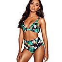levne Bikinis-Dámské Trávová zelená Odvážné Tankini Plavky - Květinový M L XL Trávová zelená