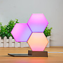 cheap Smart Lights-Novelty 3 Pcs DIY Quantum Lights Creative Geometry Assembly LED Night Light Decor Lamp Smart Control Lamp