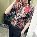 baratos Camisas Masculinas-Homens Tamanho Europeu / Americano Camisa Social Estampado, Tribal Verde XL / Manga Longa