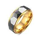 رخيصةأون خواتم-رجالي خاتم 1PC ذهبي معدن التنغستن Geometric Shape أنيق مناسب للحفلات مناسب للعطلات مجوهرات كلاسيكي كوول