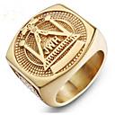 رخيصةأون خواتم-رجالي خاتم 1PC ذهبي الصلب التيتانيوم Geometric Shape أنيق هدية مناسب للبس اليومي مجوهرات كلاسيكي السعيدة قمة الأسرة كوول