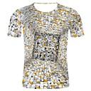 economico T-shirt e canotte da uomo-T-shirt - Taglie forti Per uomo 3D / Star Style Con stampe, Fantasia geometrica / 3D / Pop art Rotonda - Cotone Grigio chiaro XXL