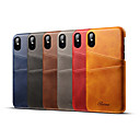 cheap iPhone Cases-Case For Apple iPhone XS / iPhone XR / iPhone XS Max Card Holder Back Cover Solid Colored Hard Genuine Leather