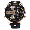 levne Pánské-SHI WEI BAO Pánské Sportovní hodinky Vojenské hodinky Křemenný Kůže Černá / Hnědá Kalendář Hodinky s dvojitým časem Hodinky na běžné nošení Analogové Módní - Černá Hnědá Jeden rok Životnost baterie